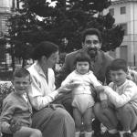 With his wife and children in the Asiago's Gardens.