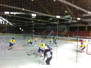 A hockey match at the ice skate stadium of Asiago.