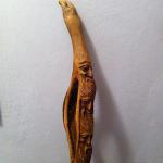 The carved stick given to Mario by Mauro Corona.