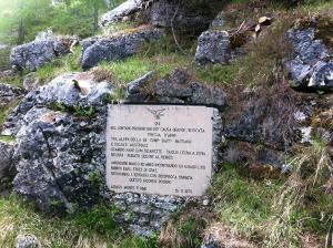 The stone plaque on Monte Forno.